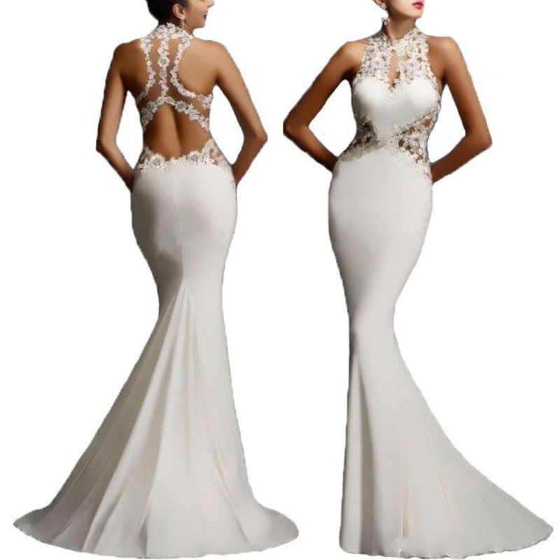 Женское сексуальное элегантное кружевное длинное платье без рукавов с открытой спиной