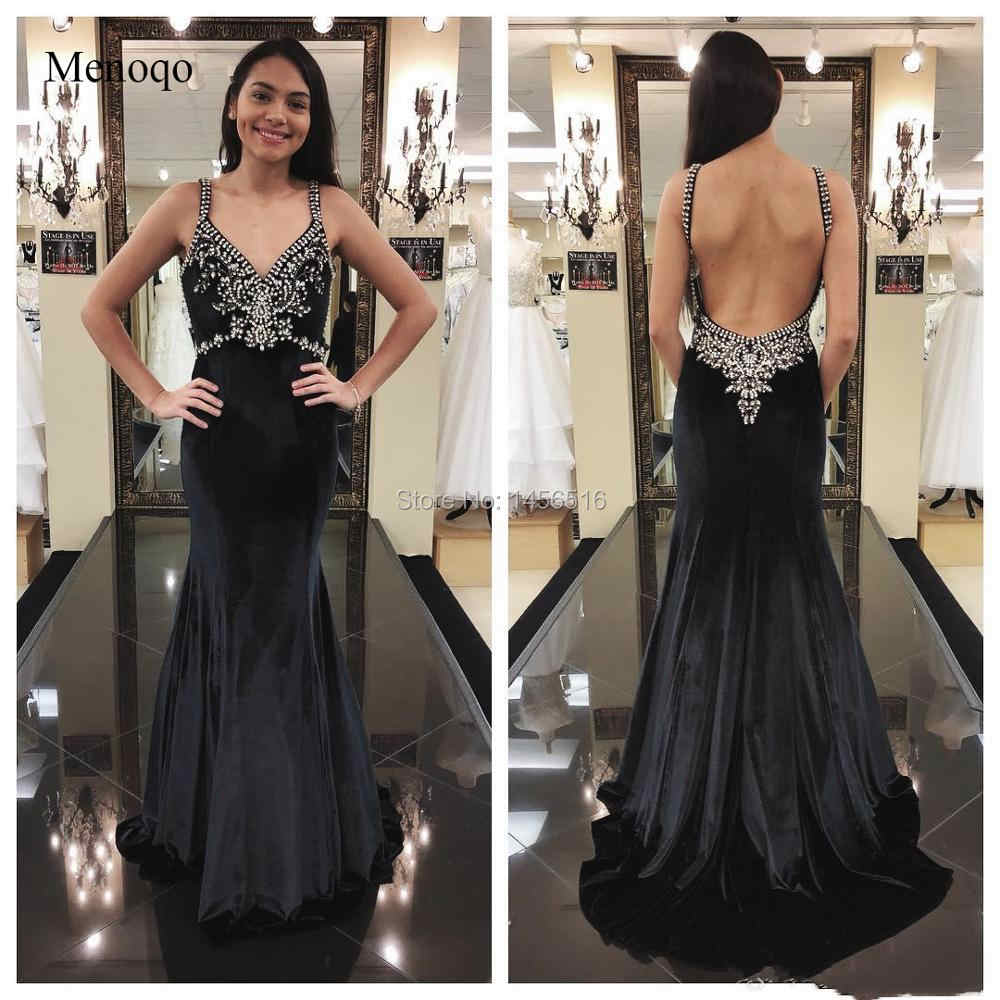 49ef9cf781b ... 2019 Black Velvet Backless Arabic Prom Dress Spaghetti Strap Beaded  Mermaid Formal Evening Dresses Party Junior ...