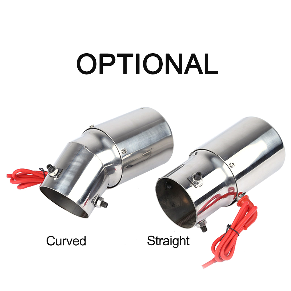 Universal Car Styling LED Exhaust Pipe Red Light Stainless Steel Flaming Muffler Tip Universal Straight muffler exhaust tip