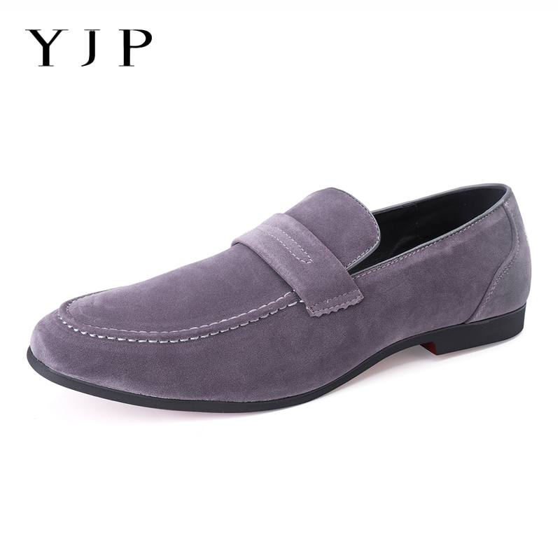 YJP Big Size Men Flat Shoes Faux   Suede     Leather   Loafers Spring Summer Leisure Business Flats Driving Flats Slip-on Casual Shoes