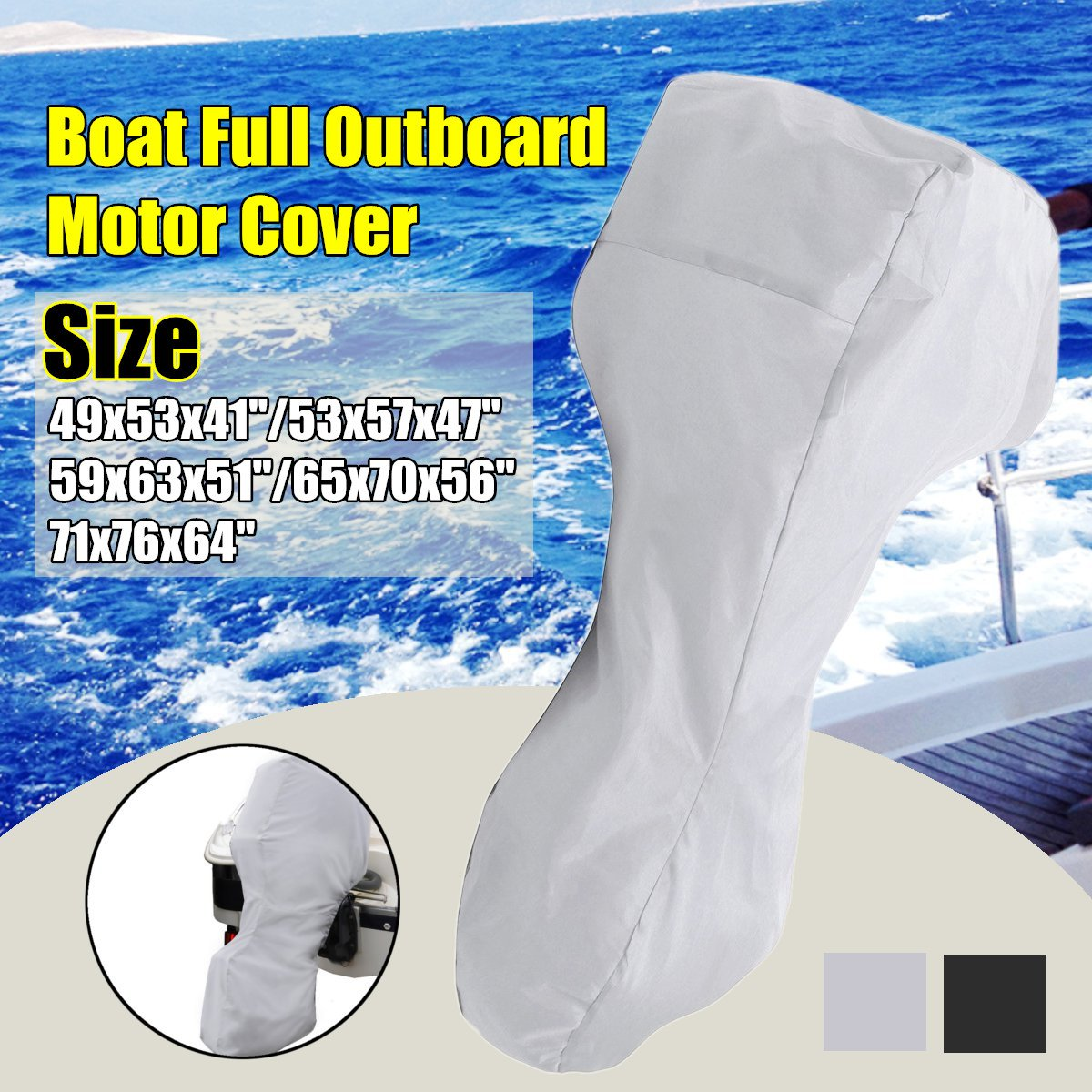 60-90HP Boat Full Motor Cover Outboard Engine Protector for 60-90HP Boat Motors Black/Silver Waterproof Oxford Cloth 5 Sizes image