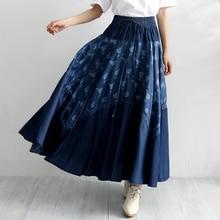 купить Free Shipping 2019 Lace Long Maxi A-line Skirts Women Elastic Waist Spring And Summer Denim Jeans Flower Print Vintage Skirts по цене 2930.9 рублей