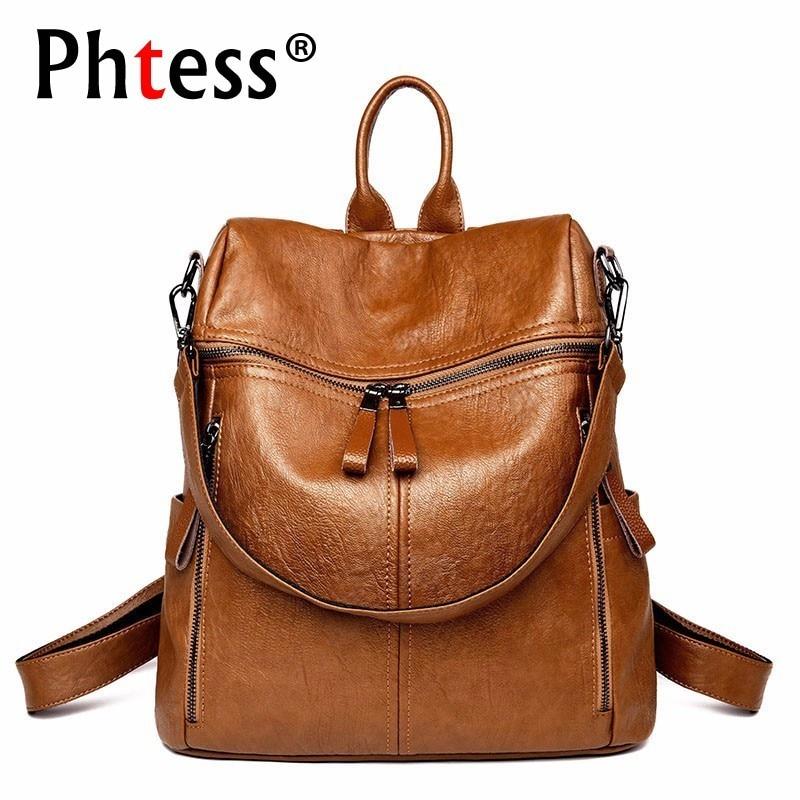 2019 Luxury Leather Backpacks Women Designer Ladies Bagpack School Bags For Girls Solid Rucksacks Vintage Travel Back Pack New