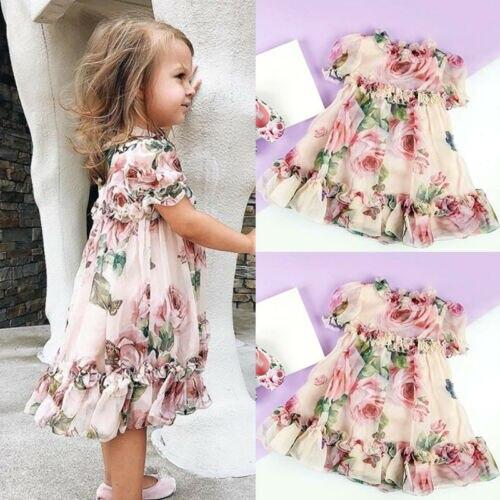 Toddler Kids Baby Girl Princess Flowers Party Maxi Dress Sundress Clothes US