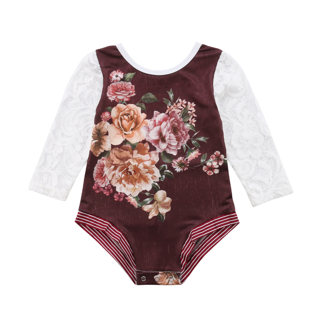 54973882793 2019 Toddler Infant Kids Baby Girls Fashion Flower Lace Long Sleeve Romper  Jumpsuit Outfit Clothes 0-24M