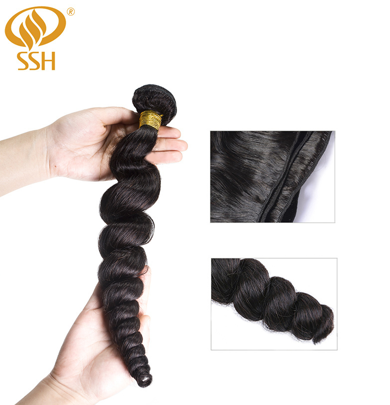 Image 2 - SSH 100% Remy Human Hair Loose Wave Bundles 1/3 PCS 8 28 inch Hair Weave Extensions-in 3/4 Bundles from Hair Extensions & Wigs