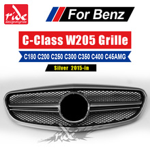 For Benz W205 Silver Front Grille AMG Style ABS Material C-Class C200 C250 C300 C180 C350 C400 Without Emblem Front Bumper 2015+ abs material blcak color trd style front grille for 2015 2017 hilux revo