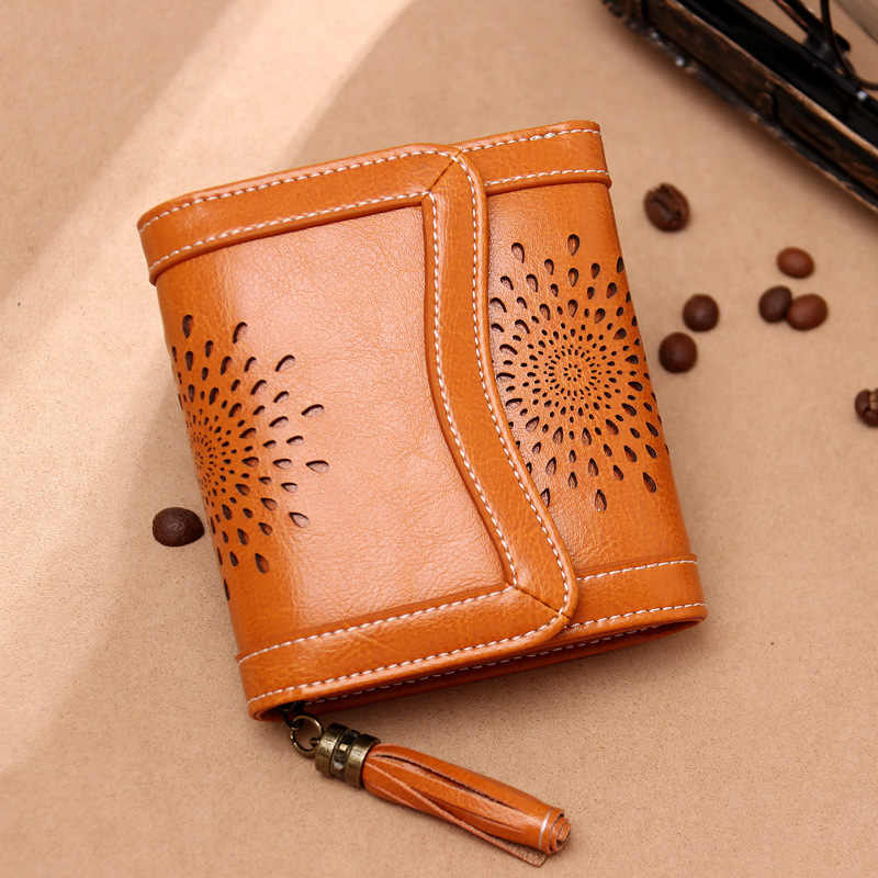 Fashion Short Women Leather Wallets Hollow Out Female Purses Tassel Genuien Leather Womens Wallets Small Coin Pocket Cartera