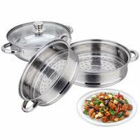 3 Tier Stainless Steel Steamer Meat Vegetable Cooking Steam Pot Kitchen Tool