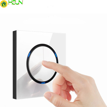 1 2 3 4 gang 2 way White Tempered glass switch Light pressure Wall Switch With LED lights France Germany socket household USB 1