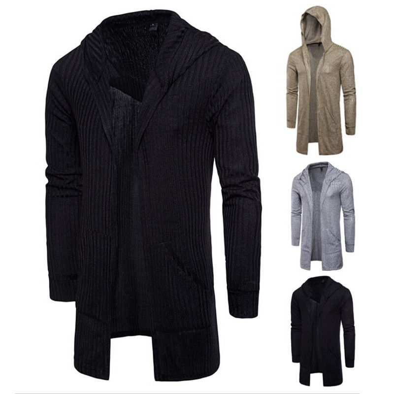 2018 Herbst Männer Mit Kapuze Strickjacke Casual Lange Stricken Outwear Stilvolle Volle Hülse Tops
