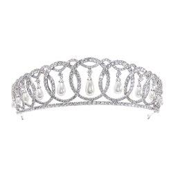 2019 klassische Design Zirkonia Baumeln perle Hochzeit Braut Tiara Krone für Frauen Braut Haar Zubehör Schmuck CH10223