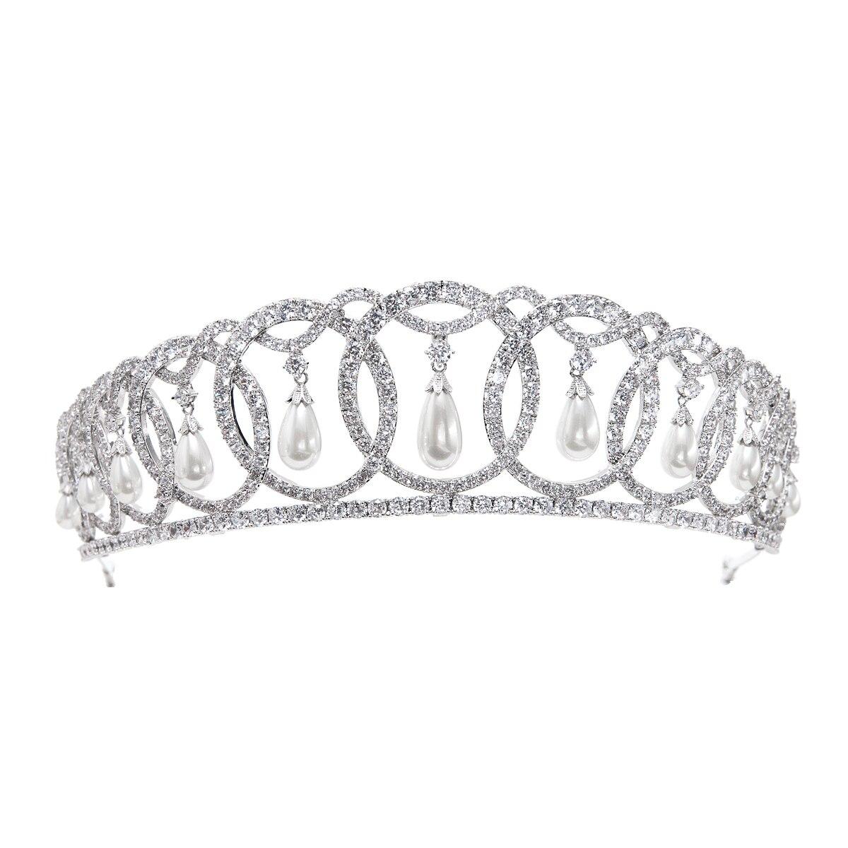 2019 klasyczny Design cyrkonia dynda perły ślubne diadem dla panny młodej korony dla kobiet włosy ślubne akcesoria biżuteria CH10223 w Biżuteria do włosów od Biżuteria i akcesoria na  Grupa 1