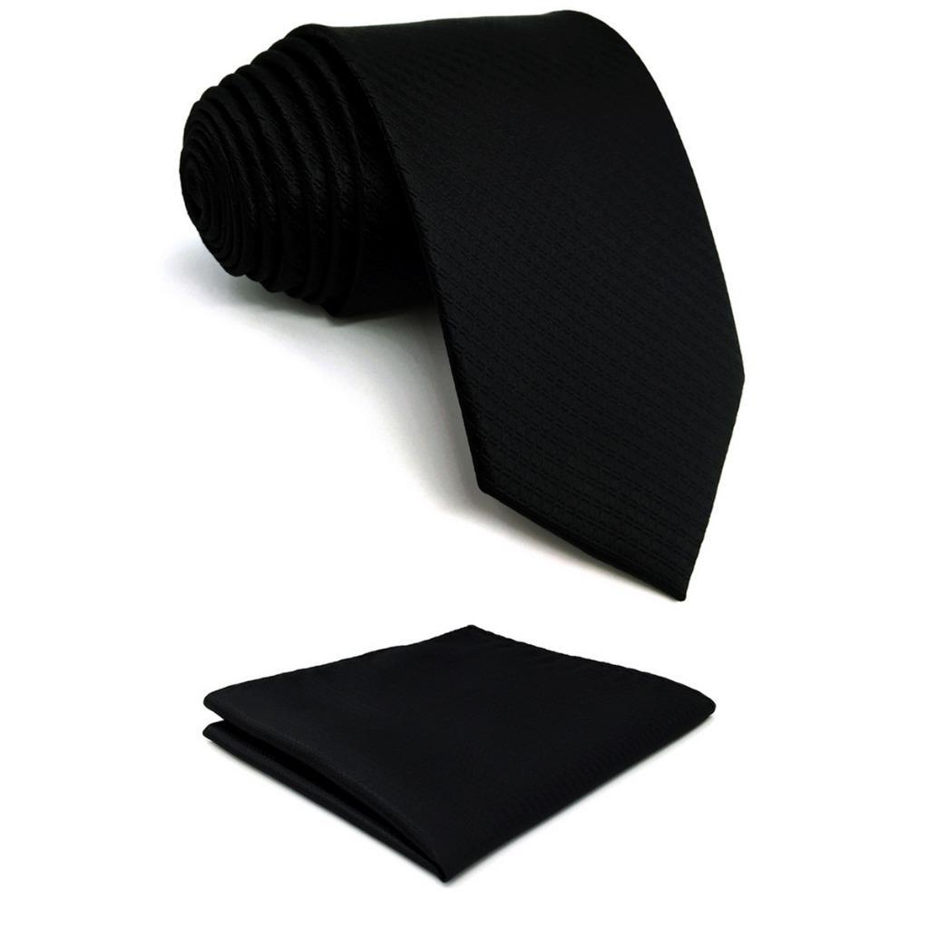 Silk Black Solid Mens Necktie Tie Set Fashion Wedding Gift Acceossories X-long Pocket Square