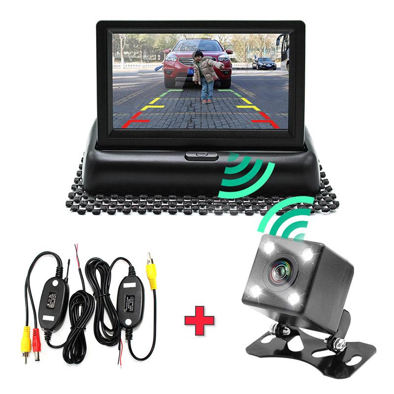 Car Parking Assistance 4.3 Inch 3 In 1 Wireless Vehicle Rear View Camera Monitor Video System,Folding Foldable Car Parking Mon