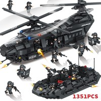 1351pcs Military Swat Team Special Police Force Transport Helicopter Building Blocks Compatible Legoings City Army Bricks WJ065