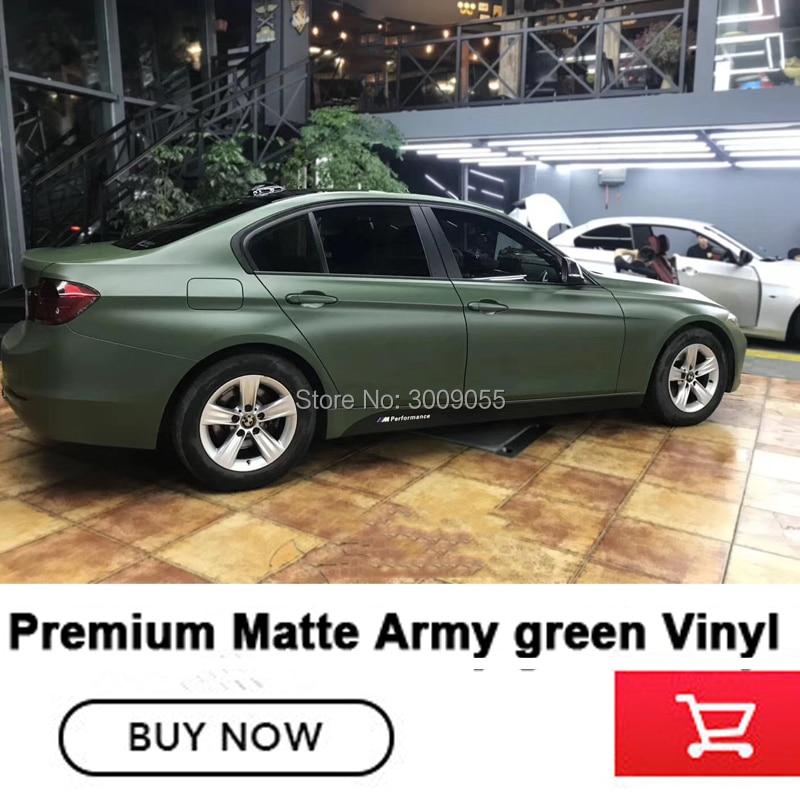 Haut de gamme mat militaire vert emballage Film housse de voiture en vinyle mat militaire vert vinyle à base de solvant faible initiale colle