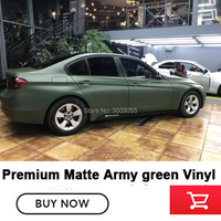 High end matte Military green wrapping Film vinyl car wrap Matte Military green vinyl solvent based low initial tack adhesive