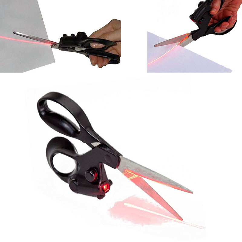 Laser Scissor Straight Cut line Fabric home house wrap Craft Guided Cloth sew fast paper shear gift with Battery|Scissors| - AliExpress