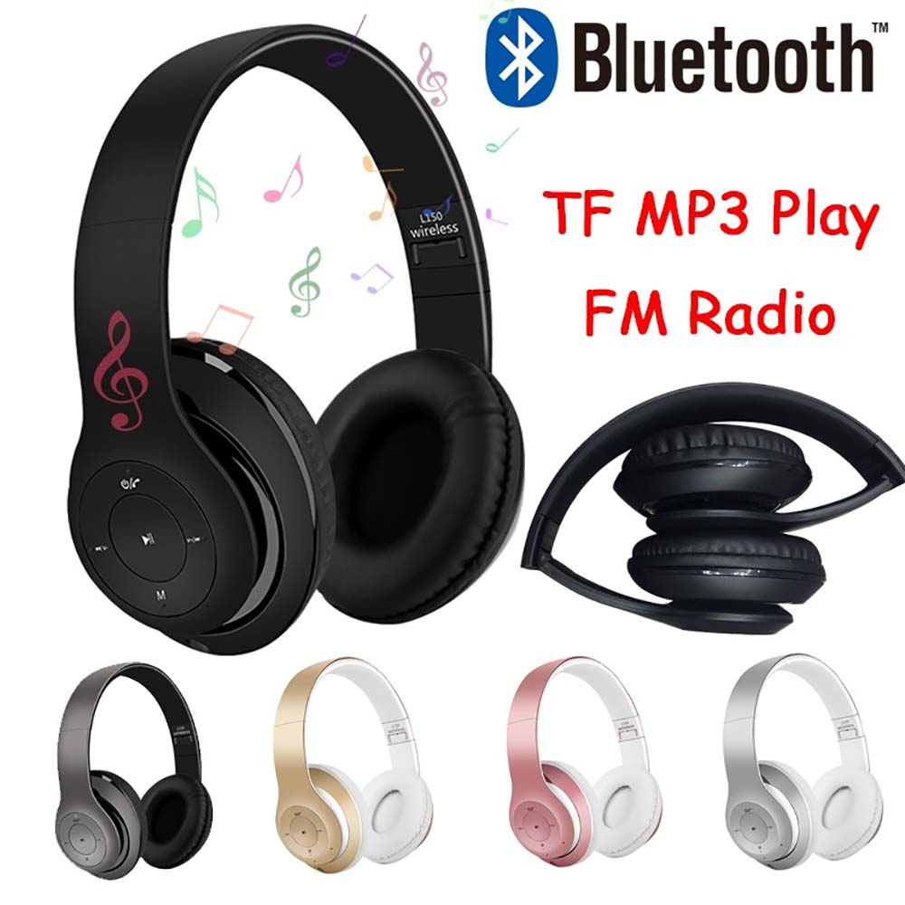 Folding Wireless Earphone Audio Head Mounted Bluetooth Earphones Stereo Bass Subwoofer Headset  For Phone And Computer
