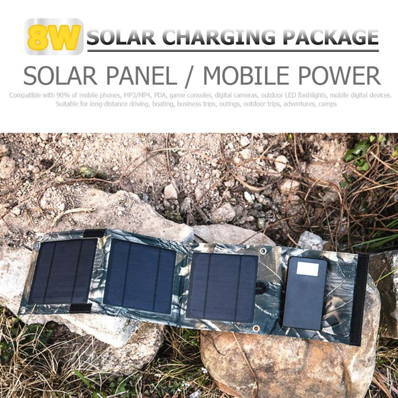 Outdoor Portable Canvas Foldable Solar Panel Charger 8w Mobile Power Bank For Phone Battery For Outdoor Trips Camps Outings Outdoor Tools
