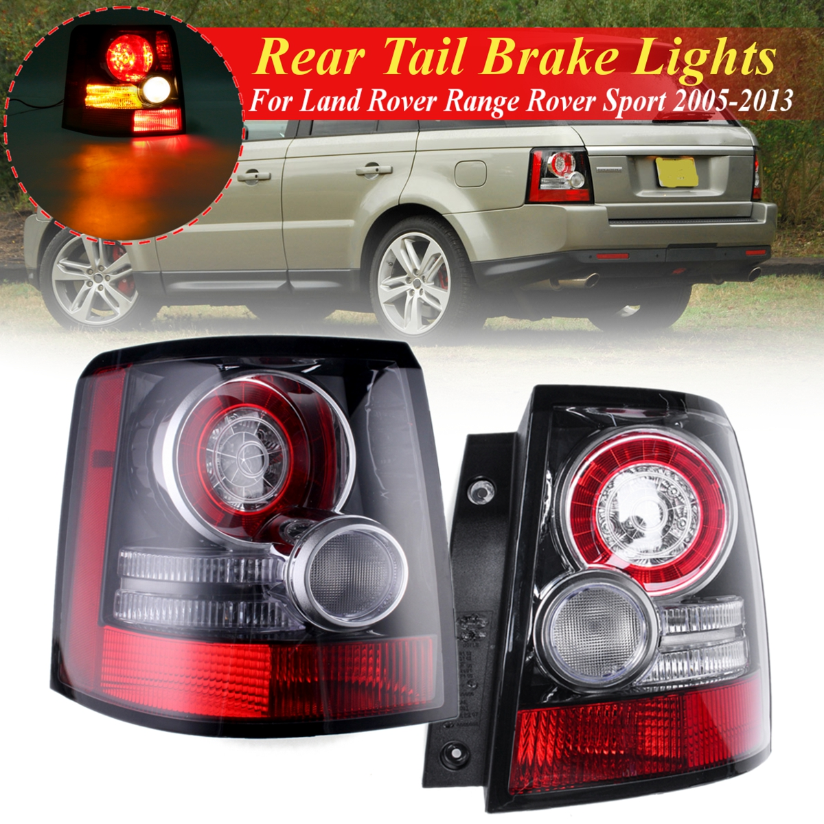 For Land Rover Range Rover Sport 2005 2006 2007-2013 1 Pair Car Rear Tail Brake Lights Bumper Reflector Taillights Stop LampFor Land Rover Range Rover Sport 2005 2006 2007-2013 1 Pair Car Rear Tail Brake Lights Bumper Reflector Taillights Stop Lamp
