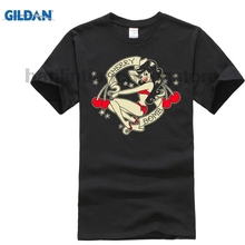 GILDAN men T Shirt 2018 Summer 100% Cotton Casual Short Sleeve Tops Tee Cherry Bomb Pin-Up RockNRoll Design t-shirt