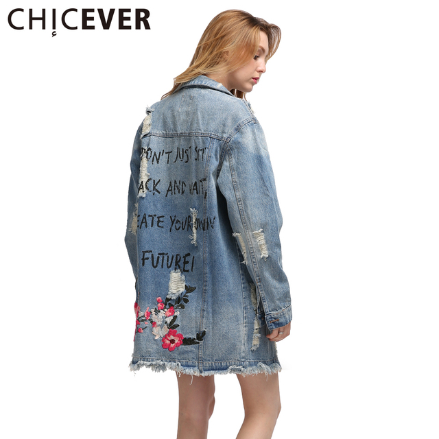 93665421890 CHICEVER Long Sleeve Embroidery Flowers Denim Jacket 2019 Autumn Vintage  Women Ripped Basic Coats Fashion Streetwear Big Sizes