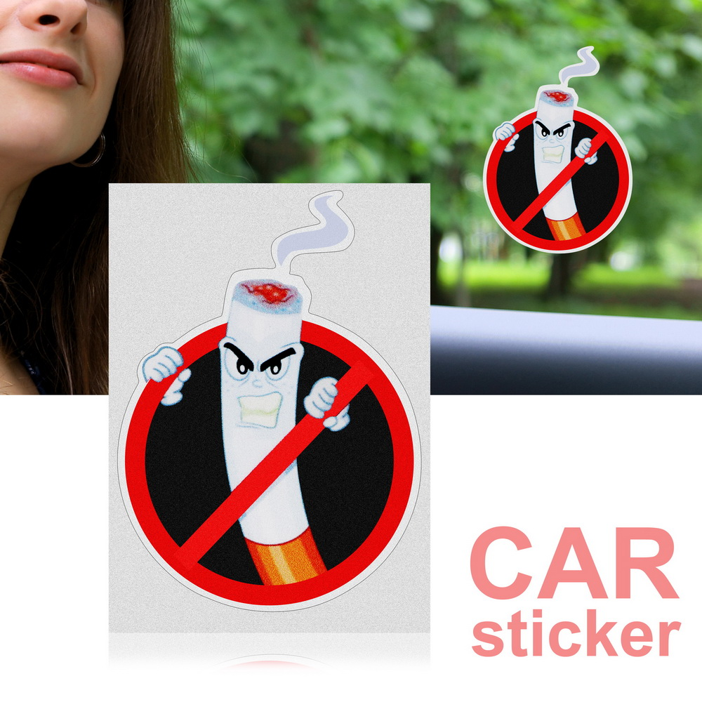 FORAUTO No Smoking Warning Car Stickers and Decals Interior Accessories Auto Decoration PVC Funny Car Styling