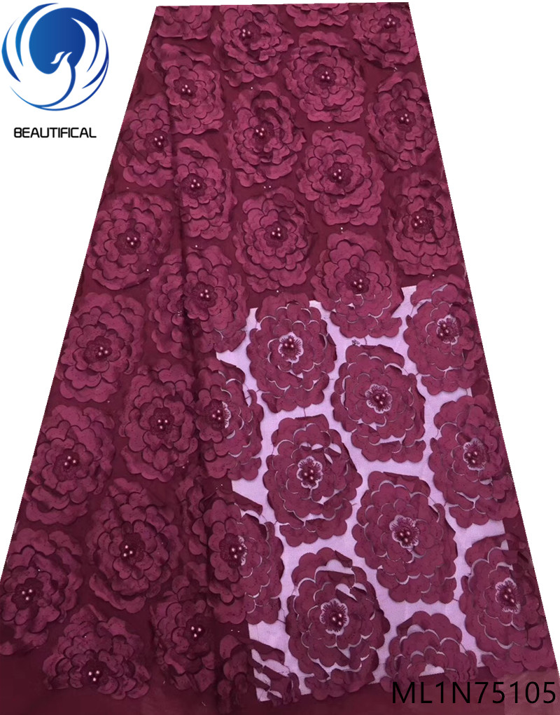 BEAUTIFICAL beads net lace nigerian fabric 2019 french lace fabric beaded high quality 5 yards lace african ML1N751BEAUTIFICAL beads net lace nigerian fabric 2019 french lace fabric beaded high quality 5 yards lace african ML1N751
