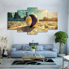 Wall Art Pictures Canvas HD Printed Modern Home Decor Framed 5 Pieces Beach Volleyball Painting Summer Sea Poster