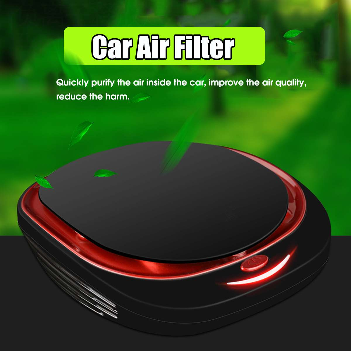 Audew Mini Car Air Purifier 12V Negative Ions Air Cleaner Ionizer Air Freshener Auto Mist Maker Eliminator Low Noise
