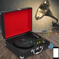 3 Speed Plastic Wood Retro 33/45/78 RPM bluetooth PH/ INT/ bluetooth 2.0 Suitcase Turntable Vinyl LP Record Phone Player AUX IN