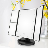 Adjustable LED Lights Magnifying Cosmetic Bright Tri fold Light Up Ultra thin Portable Magnification Desktop Makeup Mirror