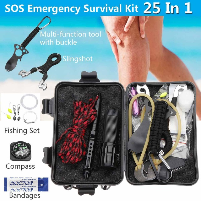 SOS Emergency Survival Kit Outdoor Gear Tactical Practical Lightweight Waterproof