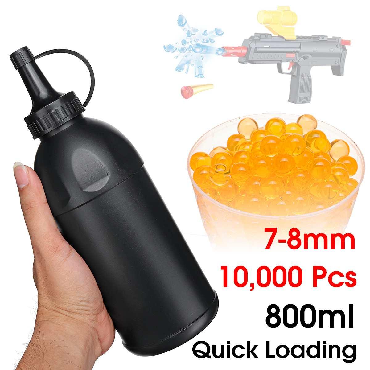 Botellas de carga de bola de Gel s de 800ml con 10000 Uds. Cuentas de municiones de 7-8mm para juego de agua, Bola de Gel, pistolas de juguete, accesorios de reemplazo Espray de agua a alta presión de 140 Bar tierra Blaster Lance Turbo boquilla para Karcher K1 K2 K3 K4 K5 K6 K7 de alta presión de lavado