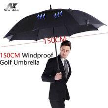 Зонт для гольфа, мужской, прочный, ветрозащитный, полуавтоматический, длинный, большой, мужской и женский, деловой, 1111