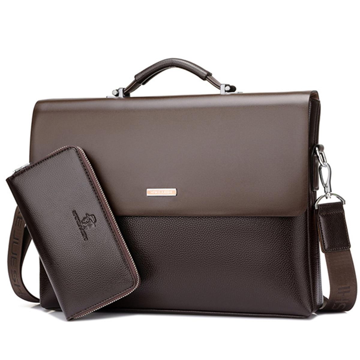 2019 Fashion Split Leather Men Briefcase Laptop Bag Business Bag 2pcs Set Handbag Office Casual Man Tote Shoulder Bags +Wallet