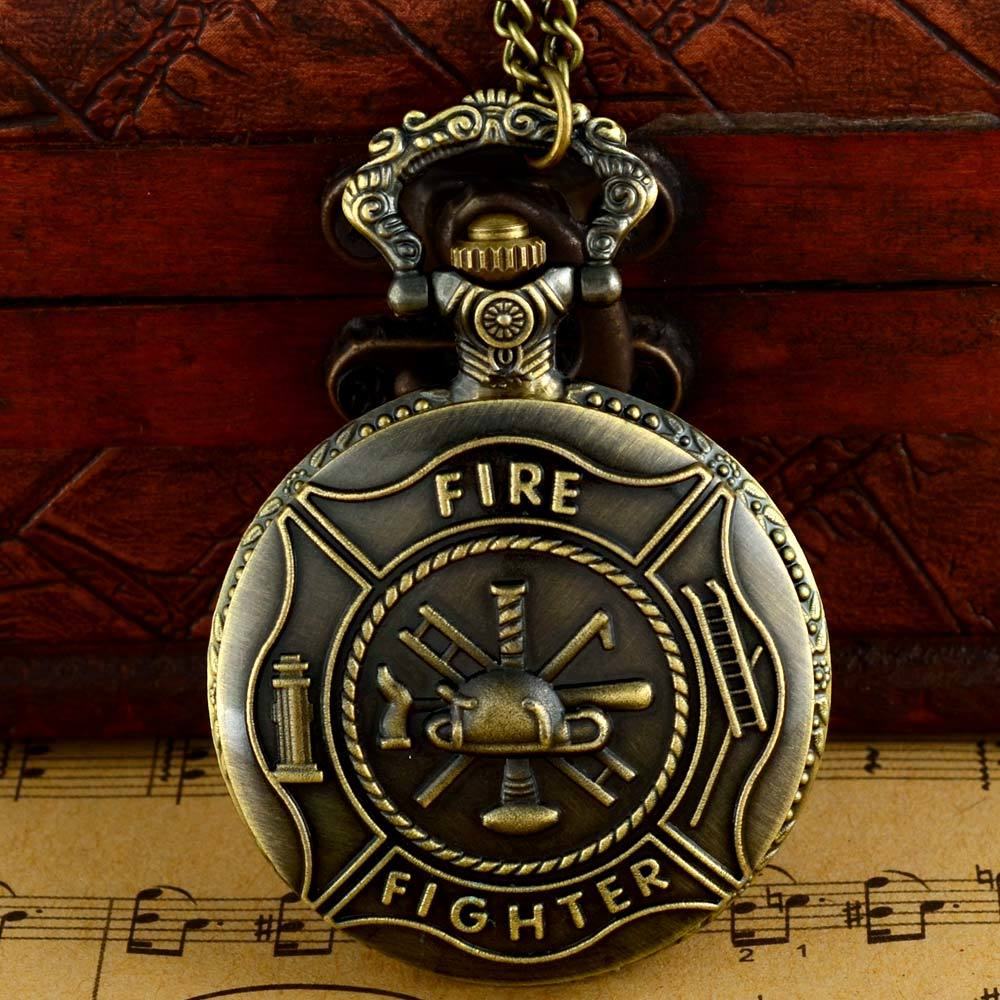 Retro Bronze Fire Brigade Quartz Pocket Watch Chains Antique Men Women Necklace Clock Gift