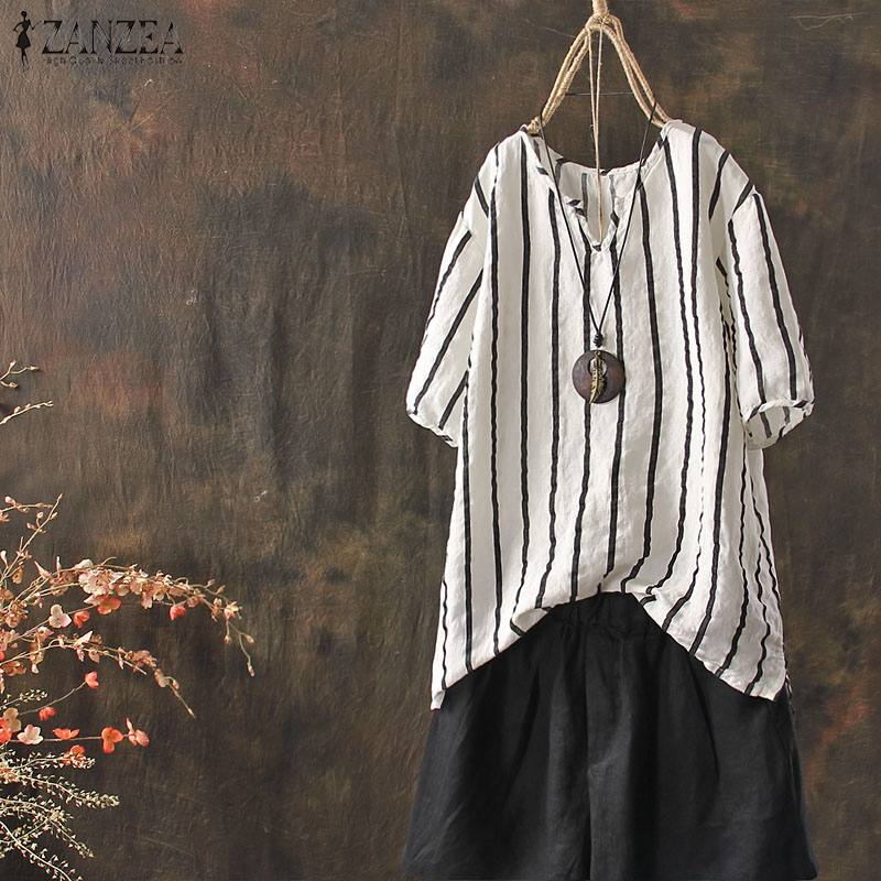 2019 Summer ZANZEA Striped Shirts Tops Women Vintage V Neck Short Sleeve Blouse Female Casual Shirt Baggy Femininas Blusa Top