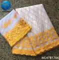 LIULANZHI bazin guinea brocado tela algodón riche getzner material de algodón con encaje francés 5 + 2 yardas/lote africano tejidos ML47B17