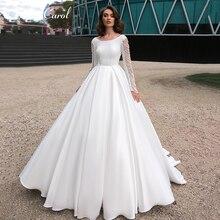 Ashley Carol A-Line Wedding Dress Long sleeve Court Train