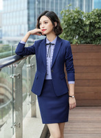 Spring Autumn Fall Black Blue Uniform Styles Formal Blazers Suit Women Jackets Coat Office Ladies Work Wear Tops Clothes Blaser