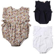 Pudcoco Newborn Baby Crochet Rompers One piece Romper Girls Sleeveless Summer