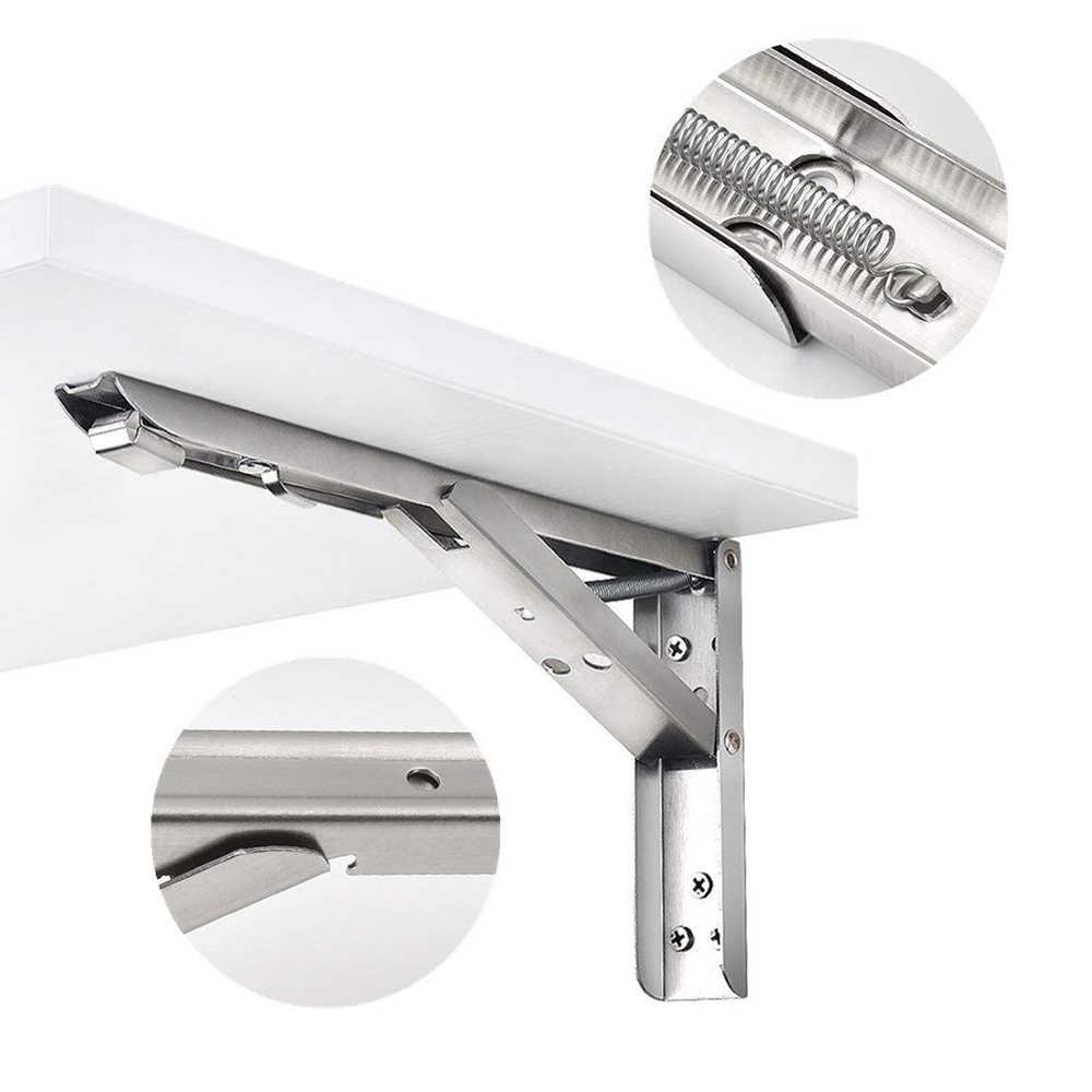 1 par de soportes de estante plegables Soporte de estante plegable de acero inoxidable resistente para mesa de trabajo Ahorro de espacio Soporte de bricolaje