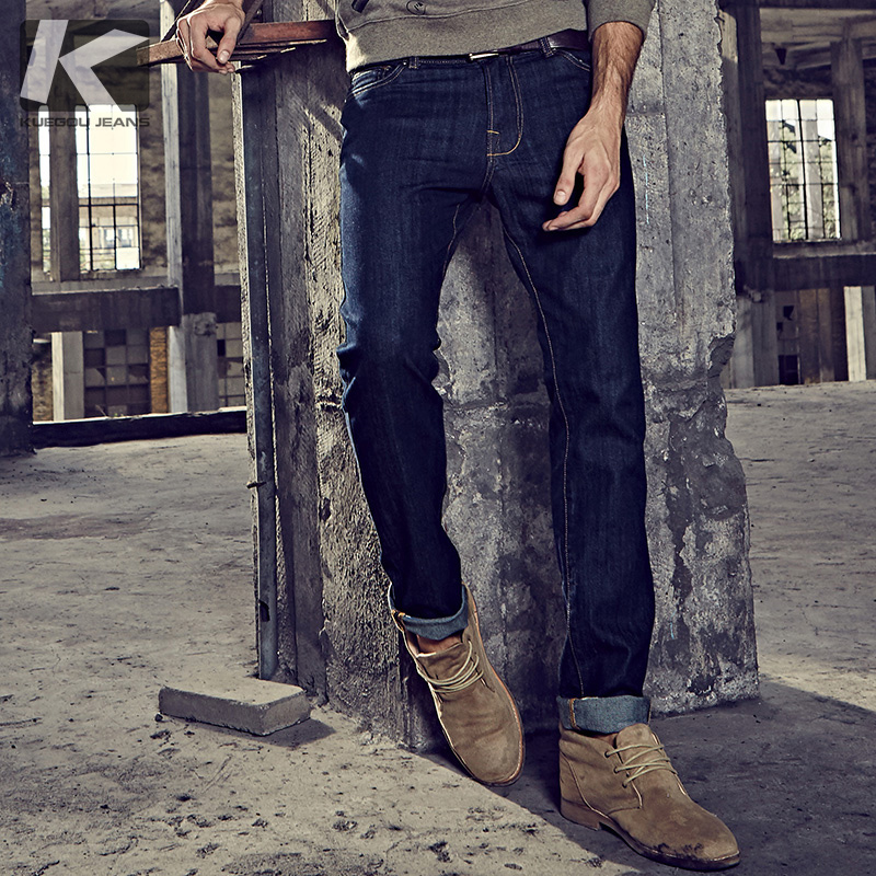 KUEGOU New Spring Mens Casual Denim Pants Zipper Blue Color Pockets Brand Clothing For Man's Slim Fit   Jeans   Male Trousers 2338