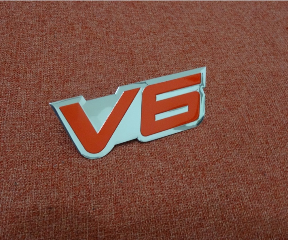 Aluminum Auto V6 6 CYLINDER ENGINE for FENDER HOOD Emblem Badge Sticker