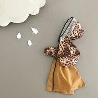 Transparent Kids Raincoat for Children Rainwear Leopard Print Impermeable Raincoats Rain Jacket Rain Poncho Women Girls 60YY198