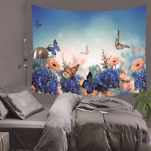 colorful butterfly tapestry elegant butterfly wall hanging tapestry polyester green environmental fabric wall decoration HA20 fire and water butterfly pattern wall art tapestry