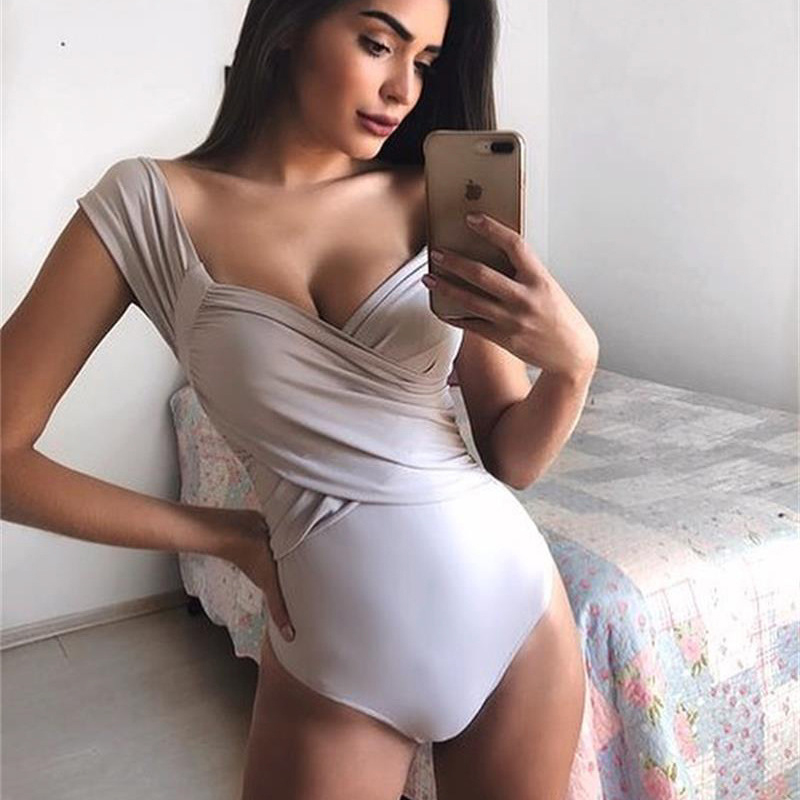 2019 Women Sexy Bodycon Spring Summer Bodysuit Casual Solid Short Sleeve Body For Women Bodysuit Asymmetry Knitted Jumper